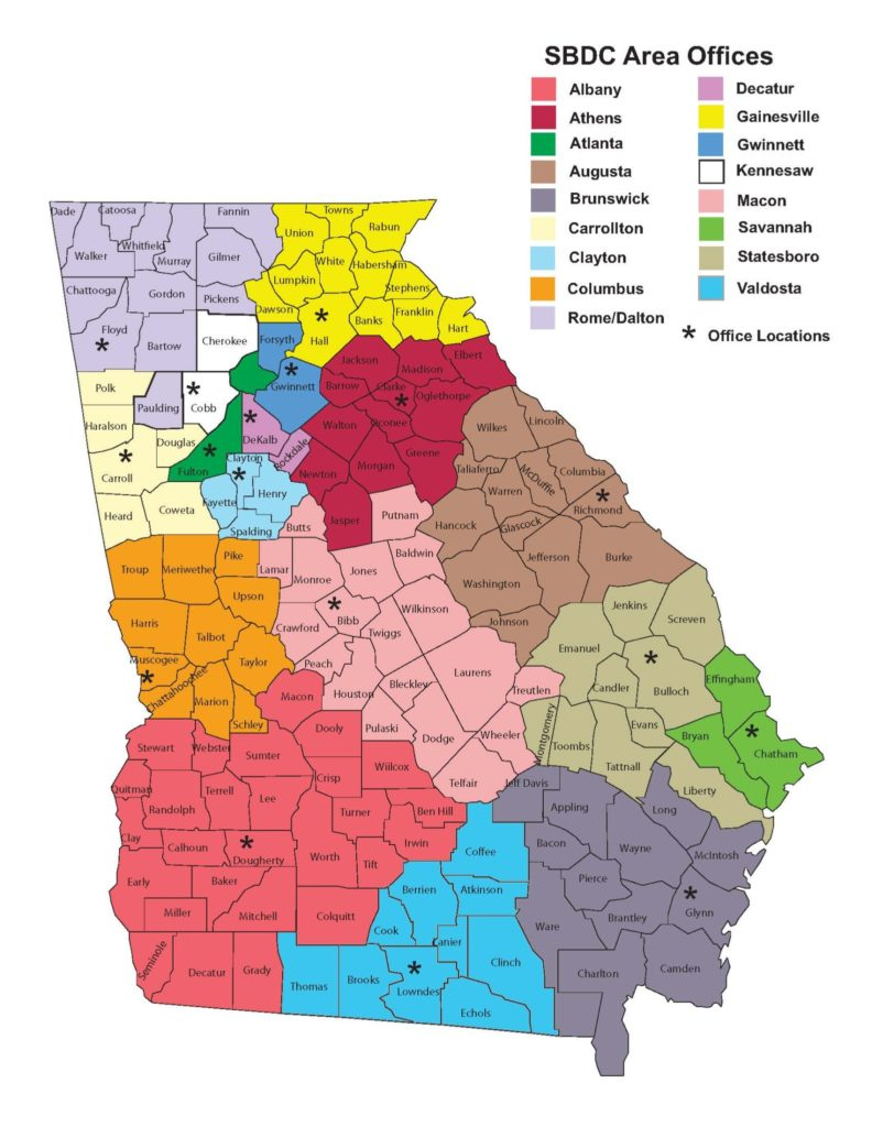 Map Of Colleges In Georgia.Uga Sbdc Locations
